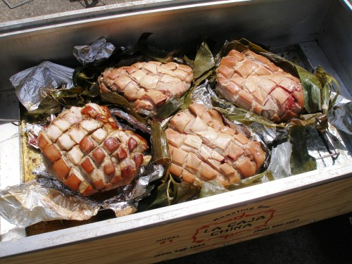 Luau Pork Shoulders in La Caja China
